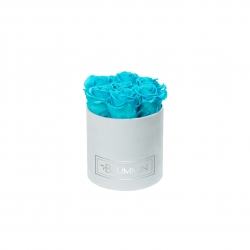 SMALL BLUMMiN - LIGHT BLUE VELVET BOX WITH AQUAMARINE ROSES