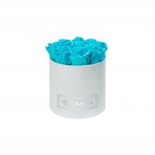 MEDIUM BLUMMiN - LIGHT BLUE VELVET BOX WITH AQUAMARINE ROSES