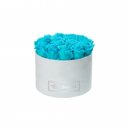 LARGE BLUMMiN - LIGHT BLUE VELVET BOX WITH AQUAMARINE ROSES