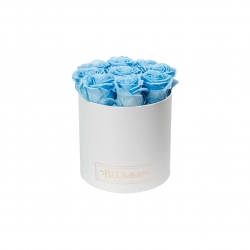 MEDIUM BLUMMiN WHITE BOX WITH BABY BLUE ROSES
