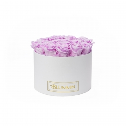 LARGE BLUMMIN WHITE BOX WITH BABY LILLY ROSES
