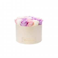 LARGE BLUMMIN CREAMY BOX WITH MIX (BABY LILLY, BRIDAL PINK, CHAMPAGNE) ROSES