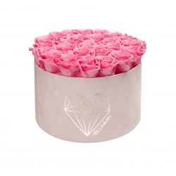 EXTRA LARGE LOVE LIGHT PINK VELVET BOX WITH BABY PINK ROSES