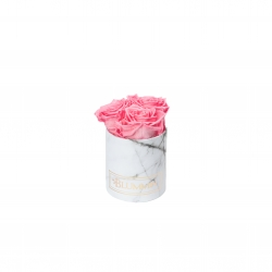 XS BLUMMiN - WHITE MARBLE BOX WITH BABY PINK ROSES