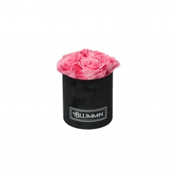 MIDI BLUMMiN BLACK VELVET BOX WITH BABY PINK ROSES