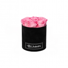 MEDIUM VELVET BLACK BOX WITH BABY PINK ROSES
