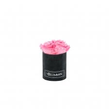 XS BLUMMiN - must sametkarp BABY PINK roosidega