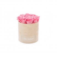 MEDIUM BLUMMIN NUDE VELVET BOX WITH BABY PINK ROSES