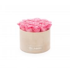 LARGE BLUMMiN - nude sametkarp BABY PINK uinuvate roosidega
