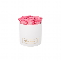 MEDIUM CLASSIC WHITE BOX WITH BABY PINK ROSES