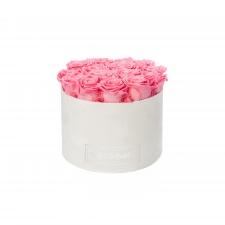 LARGE BLUMMIN WHITE VELVET BOX WITH BABY PINK ROSES