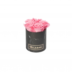 BLUMMIN MIDI BLACK MARBLE BOX WITH BABY PINK ROSES