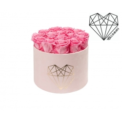 LARGE LOVE - LIGHT PINK VELVET BOX WITH BABY PINK ROSES