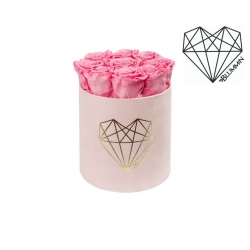 MEDIUM LOVE - LIGHT PINK VELVET BOX WITH BABY PINK ROSES