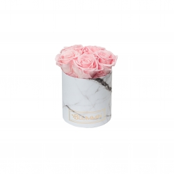 BLUMMIN MIDI WHITE MARBLE BOX WITH BRIDAL PINK ROSES