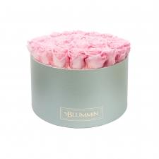 EXTRA LARGE BLUMMiN LIGHT GREY BOX WITH BRIDAL PINK ROSES