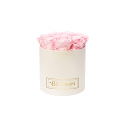 MEDIUM BLUMMIN CREAM BOX WITH BRIDAL PINK ROSES