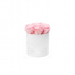 SMALL BLUMMiN - WHITE VELVET BOX WITH BRIDAL PINK ROSES
