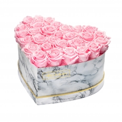 MARBLE FLOWERBOX WITH 29-31 BRIDAL PINK ROSES