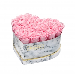 MARBLE FLOWERBOX WITH 25-27 BRIDAL PINK ROSES