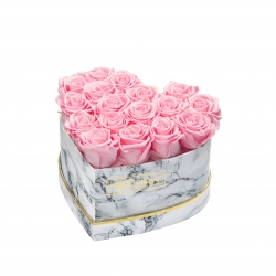 MARBLE FLOWERBOX WITH 17 BRIDAL PINK ROSES