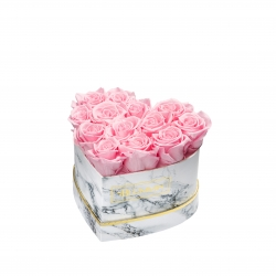 MARBLE FLOWERBOX WITH 13 BRIDAL PINK ROSES