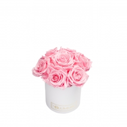 BOUQUET WITH 7 ROSES - MIDI WHITE BOX WITH BRIDAL PINK ROSES