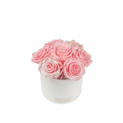 BOUQUET WITH 7 ROSES -WHITE CERAMIC POT WITH  BRIDAL PINK & PEARL PINK ROSES