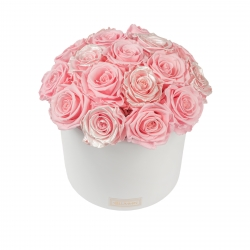 BOUQUET WITH 17 ROSES -WHITE CERAMIC POT WITH  BRIDAL PINK & PEARL PINK ROSES