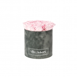 MEDIUM BLUMMIN DARK GREY VELVET BOX WITH BRIDAL PINK ROSES