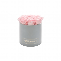 MEDIUM LIGHT GREY BOX WITH BRIDAL PINK ROSES