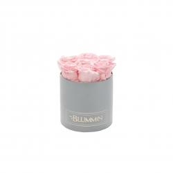 SMALL CLASSIC LIGHT GREY BOX WITH BRIDAL PINK ROSES