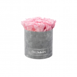 MEDIUM BLUMMIN LIGHT GREY VELVET BOX WITH BRIDAL PINK ROSES