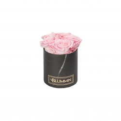 BLUMMIN MIDI BLACK MARBLE BOX WITH BRIDAL PINK ROSES