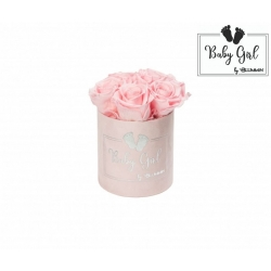 BABY GIRL - LIGHT PINK VELVET BOX WITH 5 BRIDAL PINK ROSES