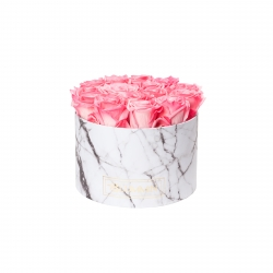 LARGE WHITE MARBLE BOX WITH CANDY PINK ROSES