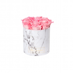 MEDIUM WHITE MARBLE BOX WITH CANDY PINK ROSES