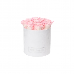 MEDIUM WHITE VELVET BOX WITH LOVELY PINK ROSES