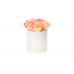 MIDI BLUMMiN - WHITE LEATHER BOX WITH APRICOT ROSES