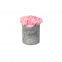MIDI BLUMMIN - LIGHT GREY VELVET BOX WITH LOVELY PINK ROSES