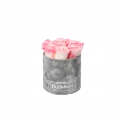 SMALL LIGHT GREY VELVET BOX WITH LOVELY PINK ROSES