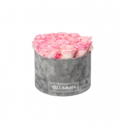 LARGE BLUMMIN LIGHT GREY VELVET BOX WITH LOVELY PINK ROSES