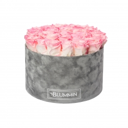 EXTRA LARGE LIGHT GREY VELVET BOX WITH LOVELY PINK ROSES