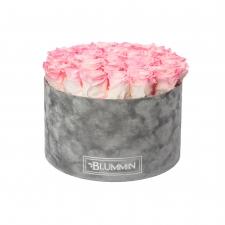 EXTRA LARGE BLUMMiN - helehall sametkarp LOVELY PINK uinuvate roosidega