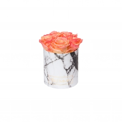 MIDI WHITE MARBLE BOX WITH APRICOT ROSES