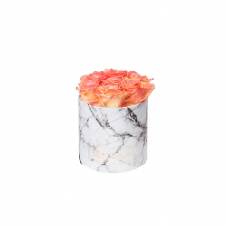 SMALL WHITE MARBLE BOX WITH APRICOT ROSES