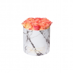 MEDIUM WHITE MARBLE BOX WITH APRICOT ROSES