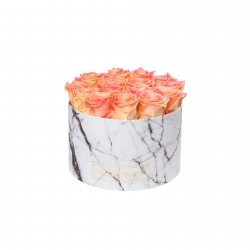 LARGE WHITE MARBLE BOX WITH APRICOT ROSES