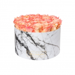 EXTRA LARGE WHITE MARBLE BOX WITH APRICOT ROSES