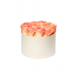 LARGE CREAMY BOX WITH APRICOT ROSES